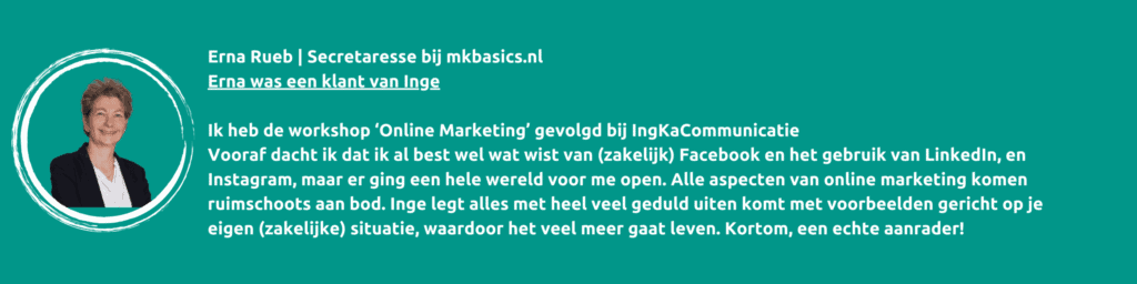 Workshop online marketing en communicatie, IngKaCommunicatie